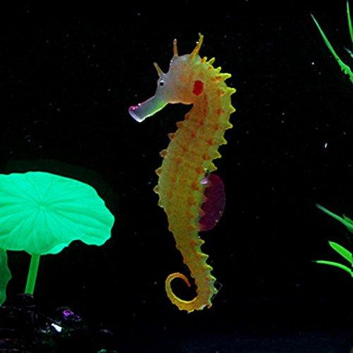 ONE Artificial Aquarium Sea Horse Hippocampus Ornament Fish Tank Jellyfish Decor - Orange ()