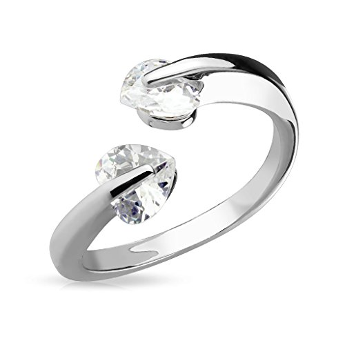 (Fifth Cue CZ Heart Tension Set Adjustable Rhodium Plated Brass Finger Mid-Ring or Toe Ring)