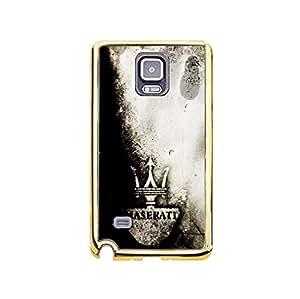Classic Maserati Logo Phone Case TPU Golden Border Soft Protector for Samsung Galaxy Note 4 with Maserati Logo