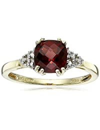 10k Yellow Gold, January BirthStone, Garnet and Diamond Ring., Size 7
