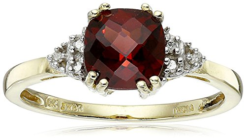 10K Yellow Gold Garnet Cushion  with Diamond January BirthStone Ring, Size 7 ()