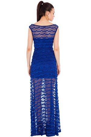Noche corsé Cóctel vestido maxi vestido con punta transparente - fiesta eventos boda - Royal de color azul Azul azul real: Amazon.es: Ropa y accesorios