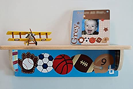 All Star Sports Wood Bookshelf Boys Baseball Soccer Football Basketball Kids Bedroom Baby Nursery SHL003