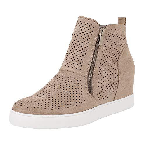 Womens Wedge Sneakers Platform Perforated Hidden Heel High Top Ankle Booties Brown