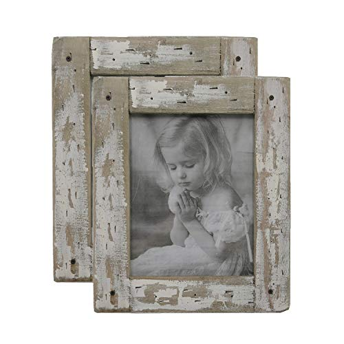 kuip Design 5x7 Picture Frame Rustic Weathered Reclaimed Wood Cream to Display Photo in Easel Back Horizontally or Vertically on The Desk (2-Pack)