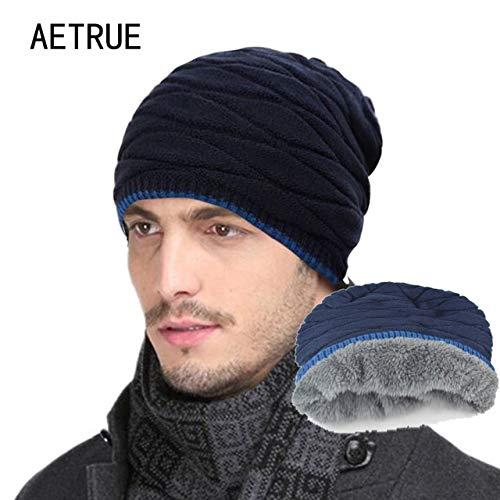 48de8acf03 World 2 home 2018 Arrival Beanies Knitted Hat Men s Winter Hats for Women Men  Caps Gorros Warm Moto Fur Winter Beanie Fleece Knit Bonnet Hat  Amazon.in   ...