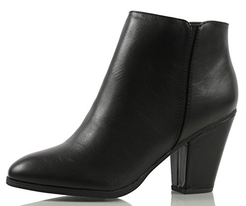 Cityclassified Womens Tevay Faux Leather Almond Toe Classic Boots Black Pu FhJU7b