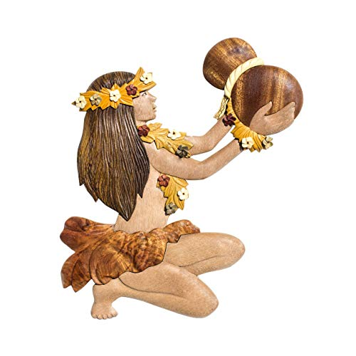 (Aloha Wood Art Hawaiian Style Handmade Wood Christmas Ornament Hula Dancer With Ipu)