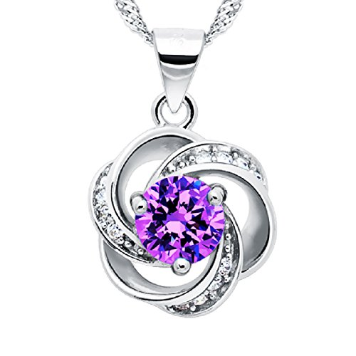 """Shall I Compare Thee to A Summer's Day"" [Purple] Sterling Silver Flower Pendant Necklace"
