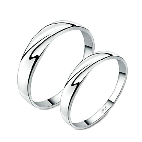 Bishilin Silver Plated Ripple Waves Design Couple Wedding Ring Set For His and Hers Size 10.5 (Design Wave Band)