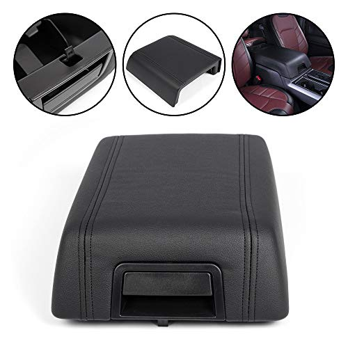 G-PLUS Black Leather Center Console Lid Arm Rest Cover Pad Replacement for Ford F150 F-150 2004-2008 Pickup Truck OEM 5L3Z1506024AAC 2005 2006 2007