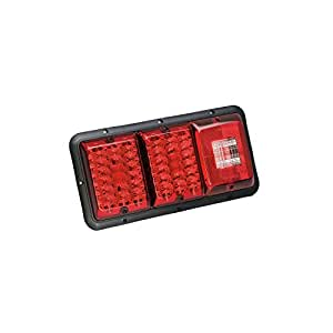 Bargman 48-84-009 Horizontal Mount Triple LED/Incandescent Taillight (Red- Black Base)