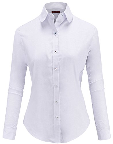 Dioufond Womens Wrinkle-Free Oxford Long-Sleeve Button Down Shirt Work Wear(US XL,White)