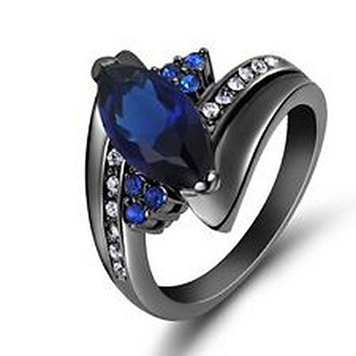 YD Jewels - Percious Size 8 Blue Sapphire Olive Cut Black Gold Filled Women's Ring Gift