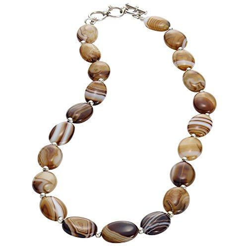 FLORIANA Women's Botswana Agate Necklace - 21 Polished Natural Brown Banded Stones
