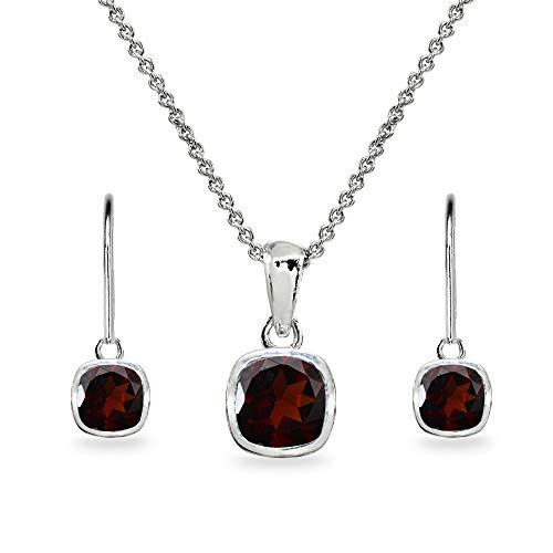 Sterling Silver Garnet Cushion-Cut Bezel-Set Pendant Necklace & Dangle Leverback Earrings Set