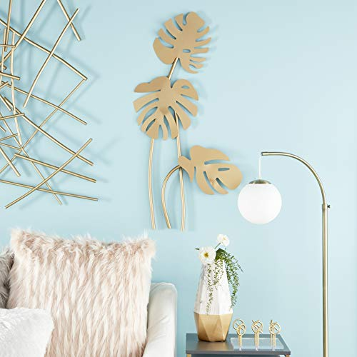 (Aromzen Large Metallic Gold Metal Palm Leaf Sculptures Wall Decor | 21