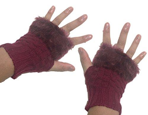 かわいい 手袋 ファー 付き 指出し もこもこ スマホ 携帯 操作 可能 グローブ レディース (d ワイン レッド)