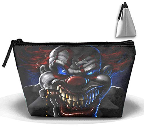 Evil Clown Cosmetic Bags Travel Toiletry Pouch Portable Trapezoidal Storage Pencil Holders ()