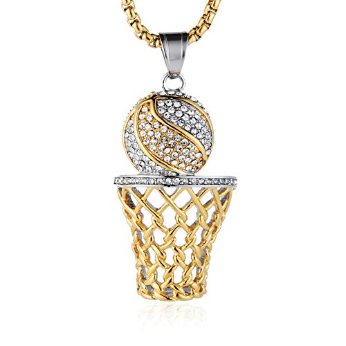 HZMAN Mens 18k Gold Silver Plated Basketball Rim CZ Inlay Pendant Hip Hop 24 Inches Chain (Gold & Silver)