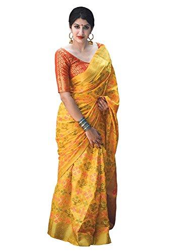 (REKHA Ethnic Shop Pure Silk Ethnic Wear Saree for Women's Sari with Un Stitch Blouse A199)