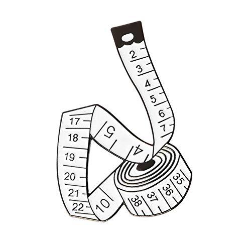 - Da.Wa Creative Tape Measure Enamel Pin Buckle Enamel Needle Sewing Needle Enamel Brooch Fashion Accessories Gift for Boy Girl Kid Unisex White
