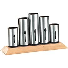 Bruntmor, 18/8 Stainless Steel Flatware Organizer Holder Caddy With Wood Base, Service for 12