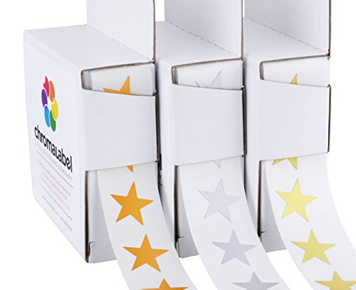 "3/4"" Assorted Metallic Star Stickers Variety Kit (Gold, Silver & Bronze) - 1,000 Shiny Labels per Dispenser Box (3,000 Foil Stars Total)"