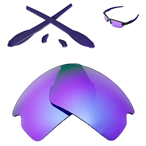 Walleva Replacement Lenses and Rubber Kit for Oakley Flak 2.0 Sunglasses - Multiple Options (Purple Polarized Lenses + Purple Rubber)