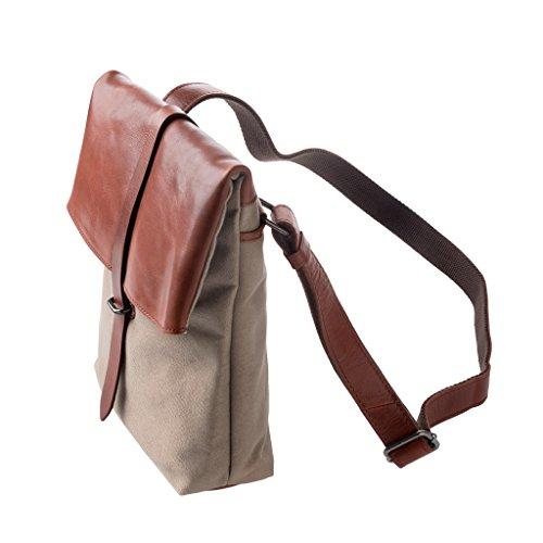 DUDU Schultertasche Damen Herren aus Leder und Canvas Messenger Bag Umhängetasche in Zeitlosem Look Leder