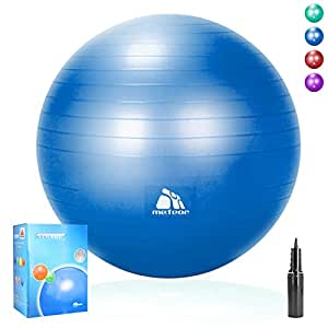 Meteor Anti-Burst Yoga Ball Swiss Ball with Air Pump for Exercise Pilates Balance Workout Fitness Pregnant Therapy Relaxation Stretching - Supports 250KG, 55cm 65cm 75cm 85cm