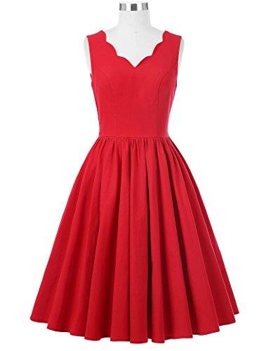 Line 1 Dress High A V Retro Vintage Picnic Red BP269 Neck Stretchy Sleeveless Party 0ZSwO