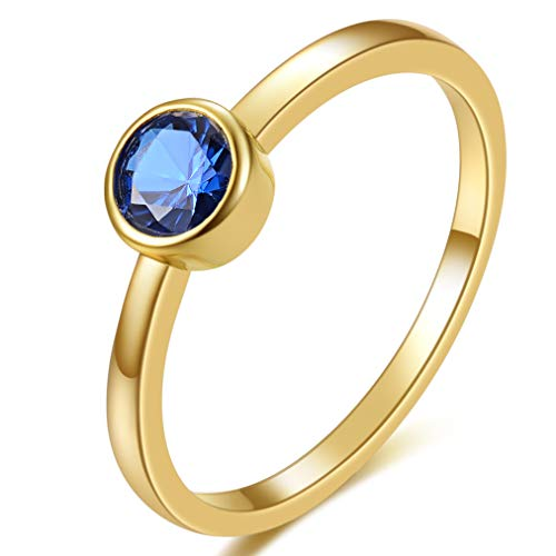 E 18K Yellow Gold Plated Shell Pearl Rings for Women, Womens Stackable Birthstone Ring Set, Fashion Statement Band Finger Rings for Teen Girls with CZ Gemstones (6, Blue Spinel) ()