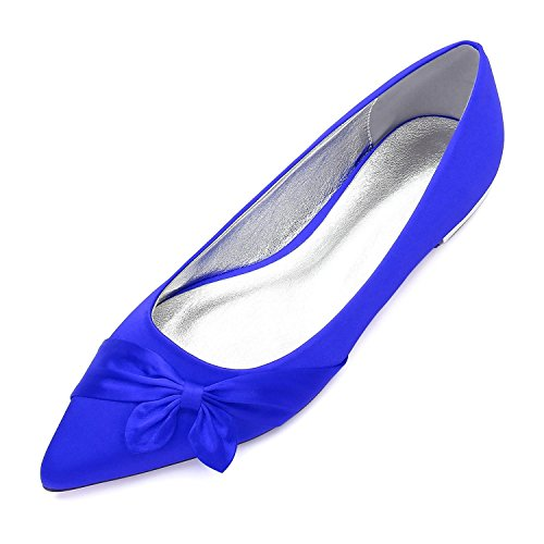 5047 high Brooch shoes Dolly Bowknot Wedding 24 Blue Pumps Evening Elegant Flat Shoes Bridal Womens Ladies d8IBSq