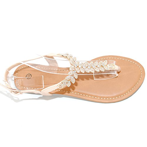 Trendsup Collection Womens T Strap Buckle Flats Sandals 5