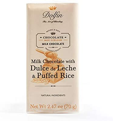 Amazon.com : Dolfin Belgium Chocolate Bar - Milk with Dulce de Leche and Puffed Rice (2.5 ounce) : Grocery & Gourmet Food
