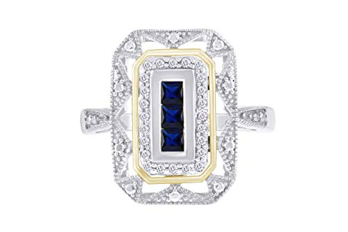 Mothers Day Jewelry Gifts White Gold Over Sterling Silver Simulated Blue Sapphire & Diamond Accent Art Deco-Style Ring (1/10 cttw, I-J Color, I3 Clarity) Ring Size-7 ()