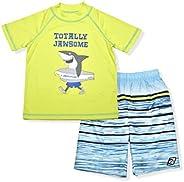 LAGUNA Boys UPF 50+ Swim Set with Short Sleeve Rashguard Sun Shirt and Print Boardshorts