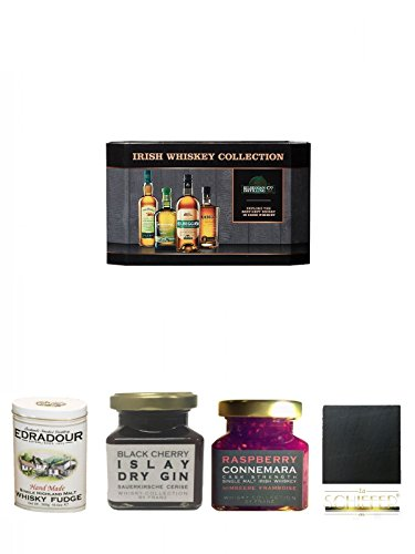 Cooley Collection neues Design Irish Whisky Mini 4 x 5cl + Edradour Malt Whisky Fudge in Blechdose 300g + Islay Dry Gin Black Cherry Sauerkirsche Marmelade 150 Gramm + Connemara Irish Whisky Himbeer Marmelade 150g im Glas + Schiefer Glasuntersetzer eckig