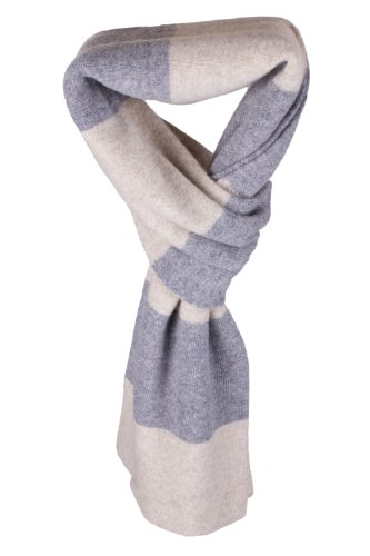 Mens Striped 100% Cashmere Scarf - Light Natural / Light Gray - handmade in Scotland by Love Cashmere by Love Cashmere