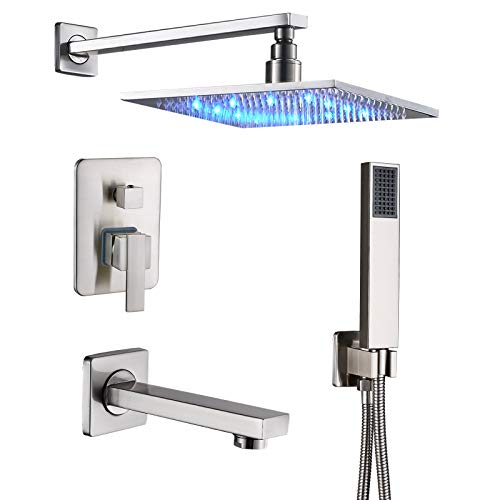 Bathroom LED Light 10-inch Rainfall Shower Set with Tub Tap 3-way Mixer Kit Brushed Nickel
