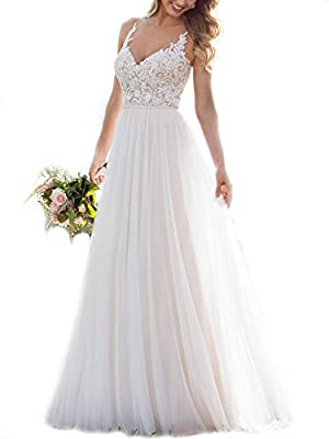 WeddingDazzle Bridal Dresses Spaghetti Straps Lace Appliques A-Line Wedding Dresses for Bride