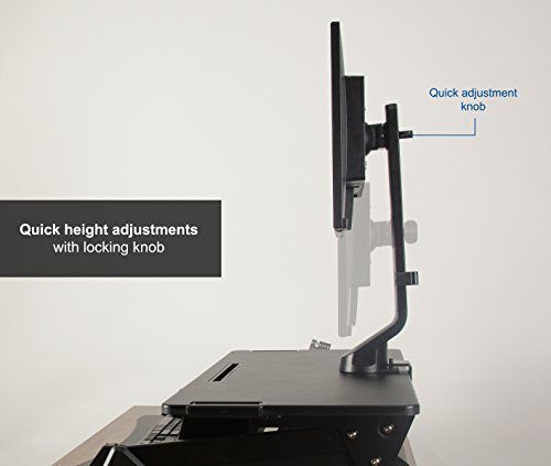 VIVO Black Adjustable Single Monitor Mount for Sit-Stand Workstation Desk Converter | Monitor Arm Fits One (1) Screen up to 32'' (STAND-V001U) by VIVO (Image #5)