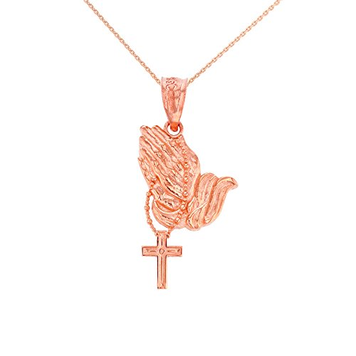 10k Rose Gold Prayer Hands With Prayer Beads Charm Pendant Necklace, 20'' by CaliRoseJewelry