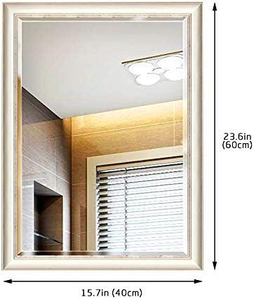 Espejo de Pared para baño, para Hotel Familiar con Espejos de vanidad montados en la Pared, biselados, Cuadrados, de Alta definición, Sencillos, Grandes, de 400 * 600 mm (Color : Blanco): Amazon.es: Hogar