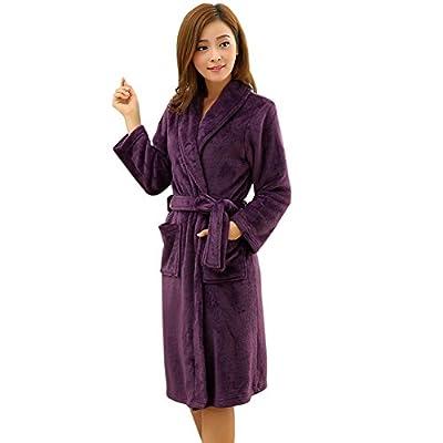 Hellomamma Women's Shawl Collar Super Plush Microfiber Fleece Long Bathrobe Robe