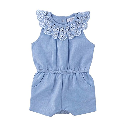 Mud Pie Baby Kids Mini Juniper Cotton Chambray Romper Blue 9-12 Months for $<!--$21.00-->