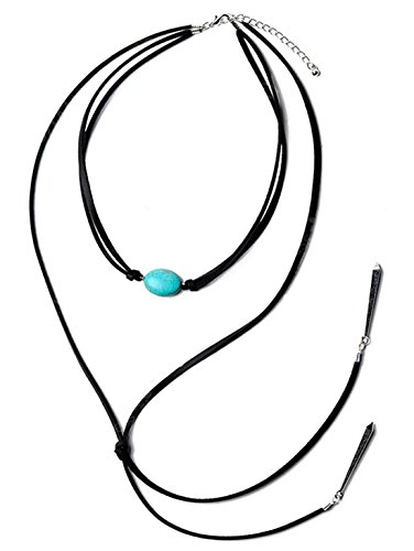 DEW Drops PU Leather Faux Turquoise Bar Pendant Choker Necklace