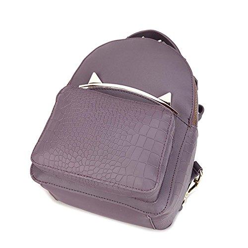 Mujer de cuero genuino mochila Moda Crocodile patrón de mochila de hombro Hardware Cinco colores decorativos disponibles Purple