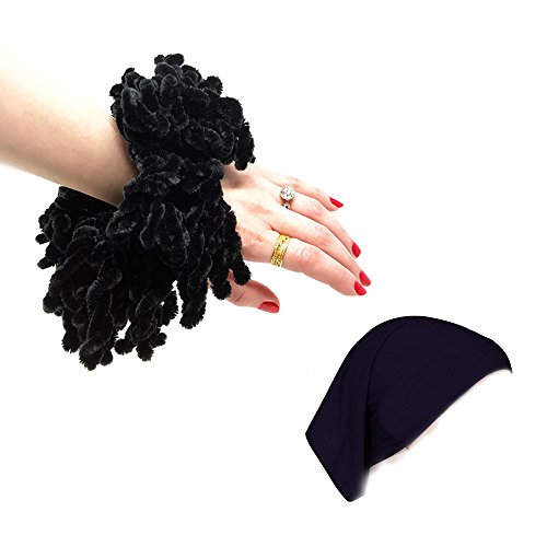 Hijab Volumizer Scrunchie and Underscarf Hijab Cap Bonnet Set - Black Volumizing Khaleeji Accessories for scarf by MagStax